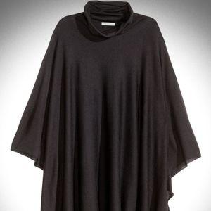 Black Turtleneck Knit Poncho